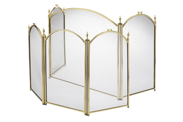Stovax 3 Panel Brass Plated Firescreen