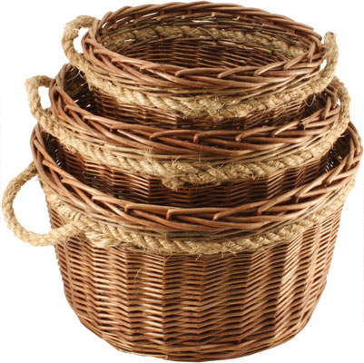 Calfire Buff & Green Willow Round with Rope Handles
