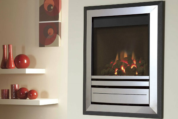Verine Alpena Balanced Flue Gas Fire with Slimline Brass Trim & Bauhaus Brass Fret