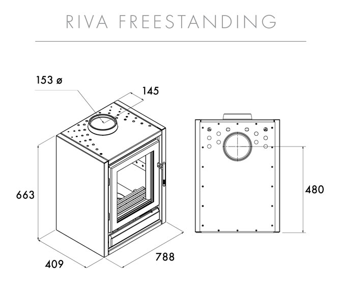 Riva F76 Wood Burning Freestanding Stove Size