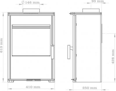 Triton 450 Multi-Fuel Glass Dimensions
