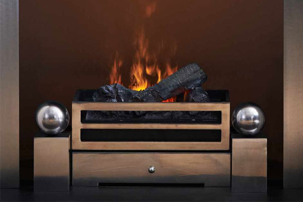 Olympus Fire Basket with Spherical Steel fire dogs