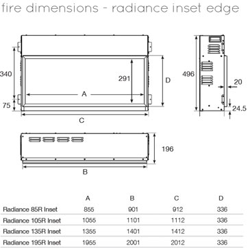 Gazco-Radiance-Inset-105R-Dimensions