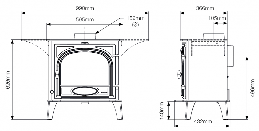 Stockton 8 Cook Stove Dimensions
